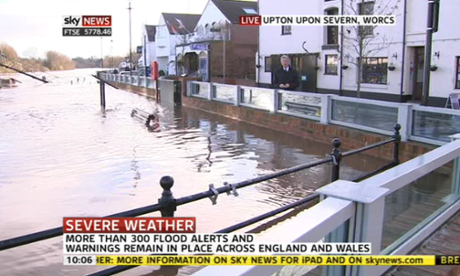 Sky News shows pictures of successful flood defences in Upton-upon-Severn, Worcestershire