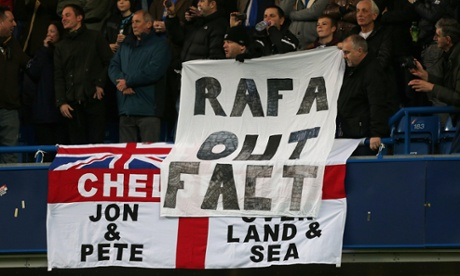 A grammatically incorrect, but otherwise well made  banner at Stamford Bridge.