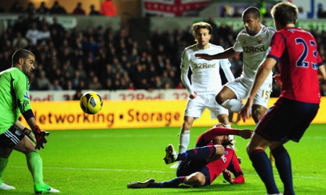 Swansea striker Wayne Routledge scores his second against West Brom.