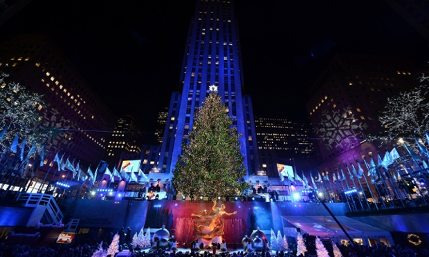 For those of us still in denial, Christmas is coming... The Rockefeller Center Christmas tree is lit in New York. The tree is a city institution and has been installed since 1933, decorated with around 30,000 lights.