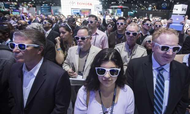 On trend: Members of the media wear polarized glasses at the Volkswagen Beetle convertible world debut at the LA Auto Show at the Los Angeles Convention Center.
