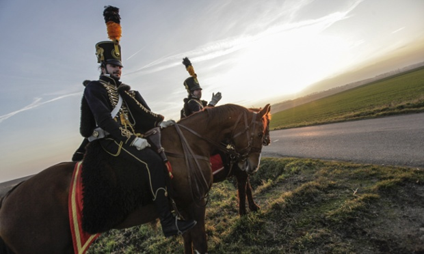 You could be forgiven for thinking you'd stumbled back in time in Kuerov, in the Czech Republic. Military history enthusiasts dressed as French and Austrian soldiers of the Napoleonic wars are on their way to a battle re-enactment, marching from Vykov to the Slavkov battlefield.