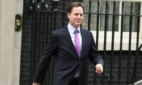 Nick Clegg leaving Downing Street this morning