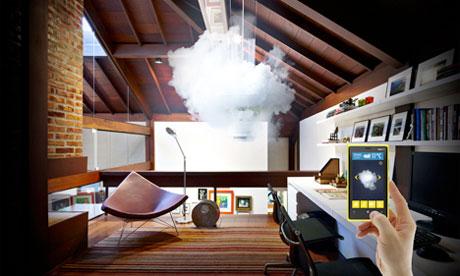 The nebula lamp cloud indoors