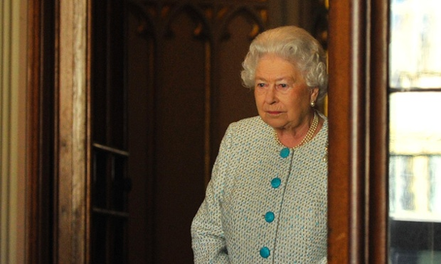 Sorry to see you go: The Queen is captured in the doorway of Windsor Castle after bidding farewell to the Emir of Kuwait.
