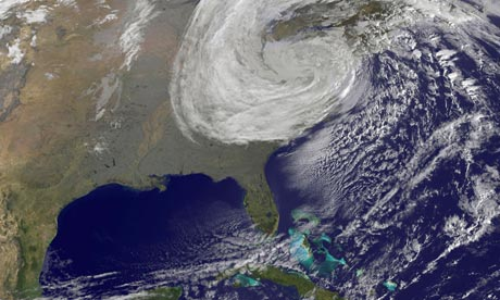 Hurricane Sandy moves inland across the mid-Atlantic towards New York