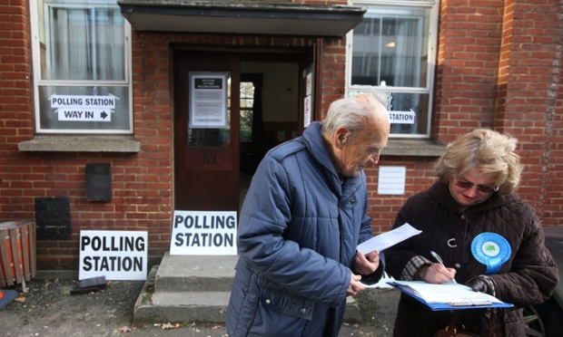 They're voting in the North Croydon by-election today, here a canvasser takes a voters details. This polling station is the British Legion Club in Norbury.