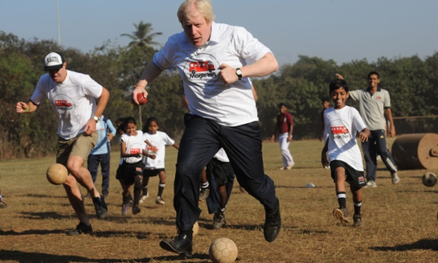 It's a day of sporting events for Boris Johnson who plays the 'Ball Game' with former rugby player Lawrence Dellaglio and local children in Mumbai during his week long tour of India.