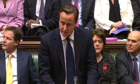 Prime Minister David Cameron makes a statement to MPs