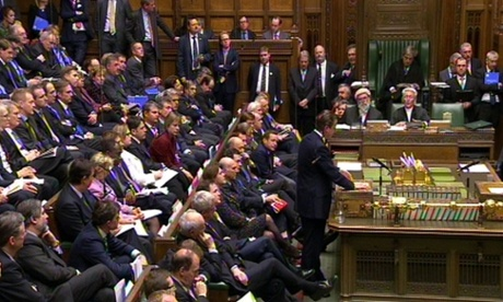 David Cameron making his statement in the House of Commons.