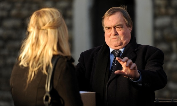 What's going on here you might well ask? John Prescott is being interviewed on College Green opposite the Houses of Parliament after the Leveson Inquiry is published.