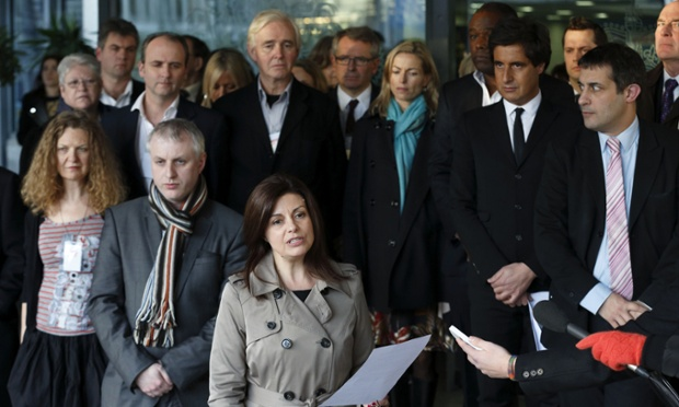 Members of 'Hacked Off', an organisation that campaigns on behalf of victims of press abuse, make a statement following the publication of the Leveson Report. The major inquiry has called for new laws to underpin a tougher watchdog for Britain's 'outrageous' newspapers.
