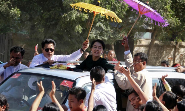 Aung San Suu Kyi arrives for a scheduled visit to Monywa in Burma's north west, where protesters have clashed with police at a copper mine.