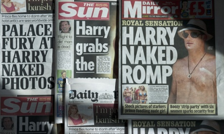 Tabloid front pages on Prince Harry's naked romp.