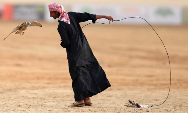 A falconer and his bird participate in the Abu Dhabi Falconry competition in Al Wathba.