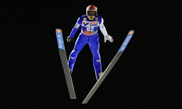 Manuel Fettner of Austria takes part in the qualifying stages of the FIS Ski Jumping World Cup in Kuusamo, Finland.