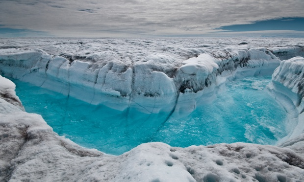 This image, taken in June and released today, shows surface melt water rushing along the surface of the Greenland Ice Sheet through a supra-glacial stream, southwest of Ilulissat.