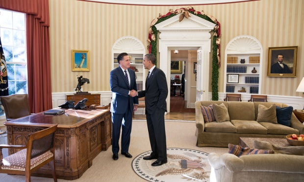 Lunch over, Mitt Romney and Barack Obama settle down for a chat in the White House's Oval Office.