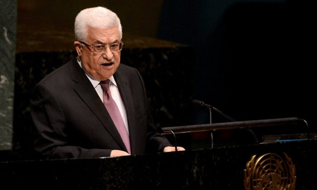 Mahmoud Abbas, president of the Palestinian National Authority,speaks to the United Nations General Assembly before the statehood vote.