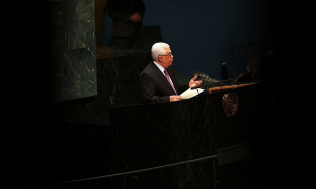Palestinian Authority President Mahmoud Abbas addresses the General Assembly at the United Nations in New York City before a vote on upgrading the status of Palestinine to a non-member observer state.
