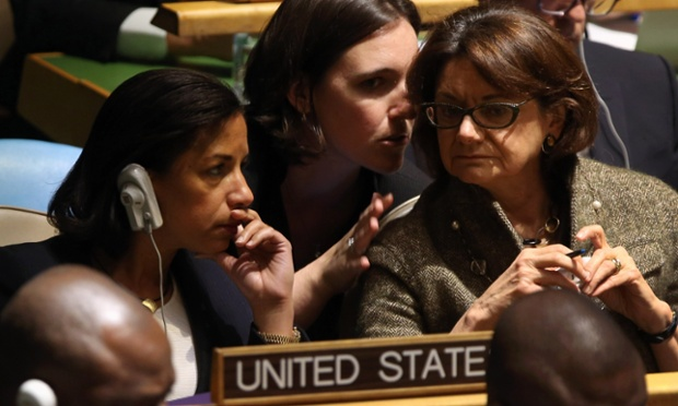 Susan Rice, American ambassador to the United Nations, sits with members of the US delegation ahead of the vote.