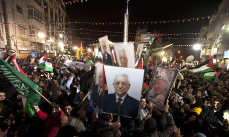 Palestinians celebrate in the West Bank