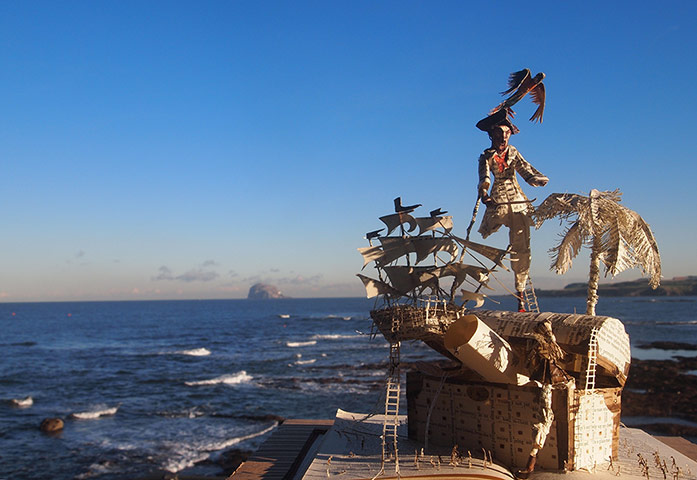 Book sculptures in situ: Robert Louis Stevenson's Treasure Island