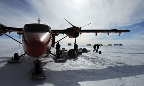 Unloading a plane above Lake Elllsworth in Antarctica