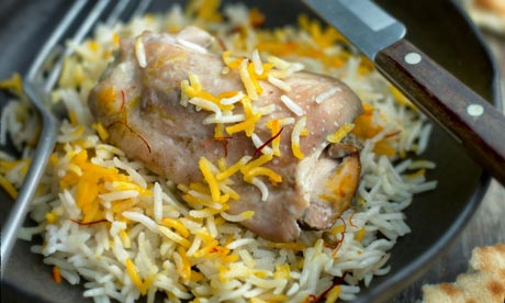 Rice cooked with chicken by Madhur Jaffrey