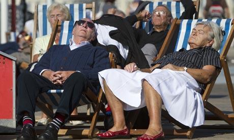 Sleeping in deckchairs in Brighton