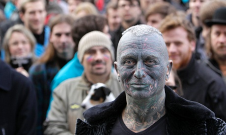 Vladimir Franz, a university teacher, artist and composer who has tattoos covering 90 percent of his body attends a rally in Prague after he collected more then 50,000 supporting signatures which put him into the official race for the Czech Presidency. The first ever direct presidential election in the Czech Republic takes place in January 2013 to replace the outgoing president Vaclav Klaus.