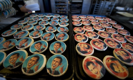 Obama and Romney cookie trays beckon shoppers at the Oakmont Bakery in Oakmont, Pennsylvania. Cookie purchase polls reveal customers have purchased 2,332 Romney cookies while 1,745 Obama cookies have been sold.