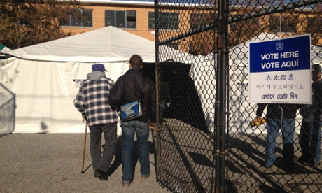 Voters enter a makeshift voting site in Staten Island, New York, Tuesday, Nov. 6, 2012.
