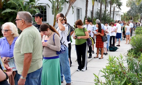 Voters wait in line in Florida.