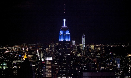 The Empire State Building is lit blue after Obama wins the presidential election on election night.