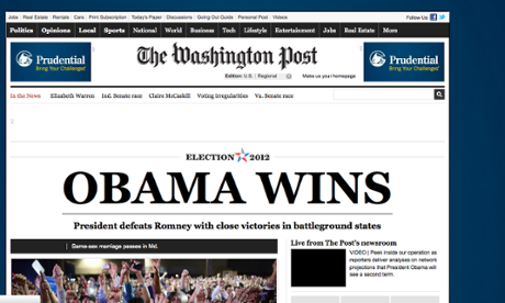 Washington Post website announces Obama's victory