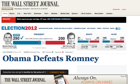 Wall Street Journal website announces Obama's victory.