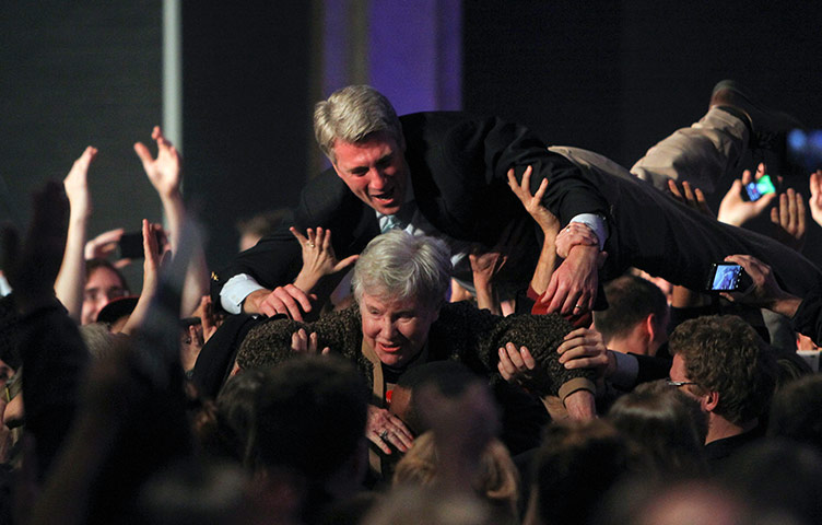Election celebrations: Minneapolis Mayor R.T. Rybak goes crowd surfing
