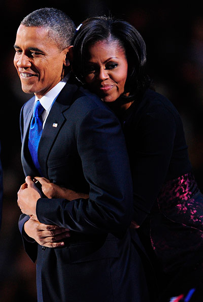 Election celebrations: US President Barack Obama and his wife M