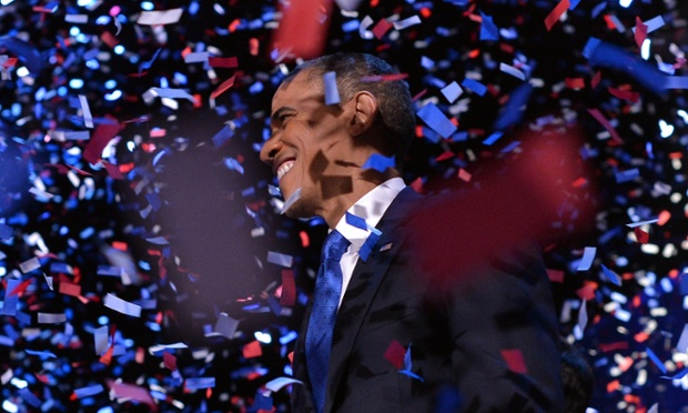President Barack Obama celebrates after delivering his acceptance speech in Chicago after sweeping to re-election.