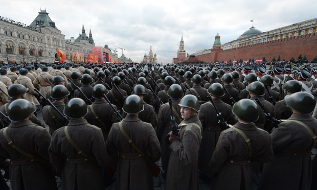 Russian soldiers, wearing World War II-era uniforms of the Red Army, take part in a military parade on the Red Square in Moscow. Russia marked today the 71st anniversary of the 1941 historical parade, when the Red Army soldiers marched to the front line from the Red Square, as Nazi German troops were just a few kilometers from Moscow.