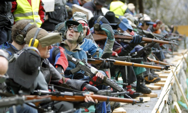Riflemen from all over Switzerland and from abroad gather for the 150th 'Ruetlischiessen', a traditional shooting competion over Lake Lucerne.