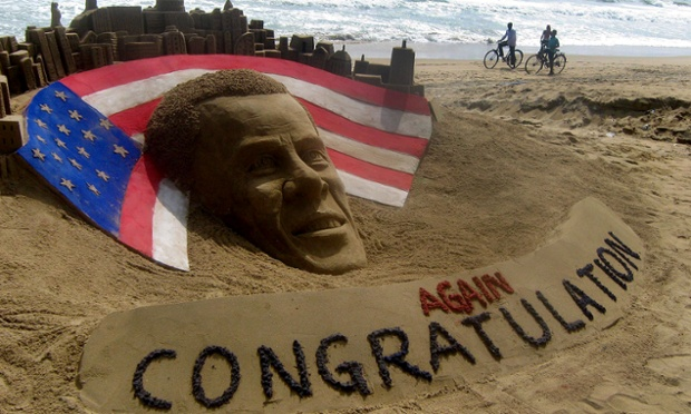 Sand sculpture of re-elected US President Barack Obama by Indian artist Sudarshan Pattnaik at Puri beach.