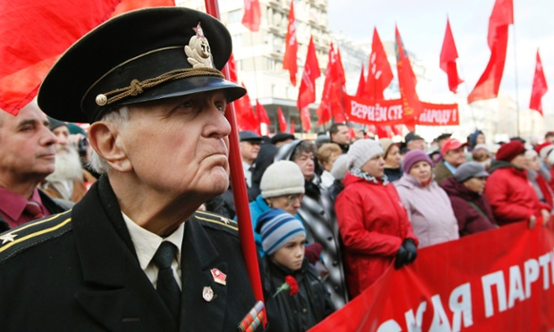 Ukrainian Communist Party supporters mark the 95th anniversary of the Great October Socialist Revolution in 1917.