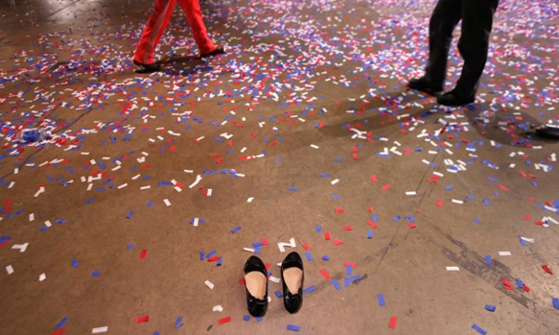 A pair of shoes are left behind after the victory party for US President Barack Obama at McCormick Place in Chicago.