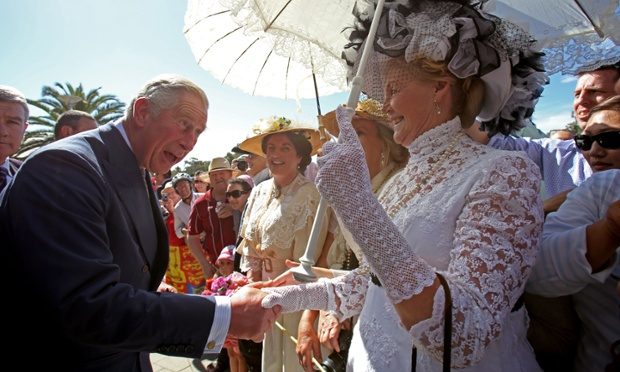 Prince Charles, meets members of the public outside the convention centre as they visit the Riverside Precinct Redevelopment in Adelaide, Australia.