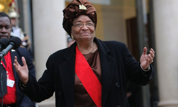 Liberian President Ellen Johnson Sirleaf adresses to reporters after being awarded of the