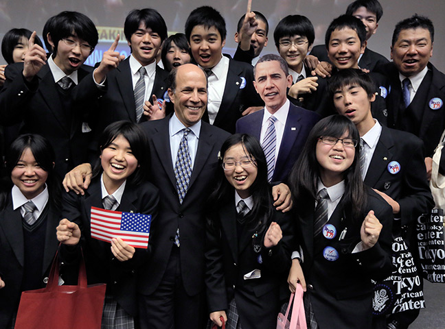 World election reaction: Tokyo, Japan: US Ambassador to Japan John Roos