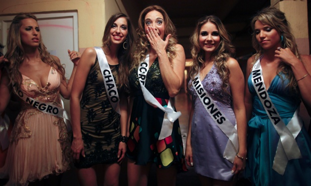 Contestants wait to go on stage during the Miss Argentina contest in Buenos Aires, Argentina.