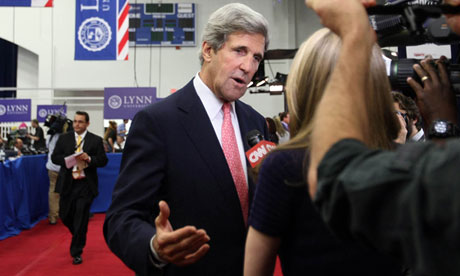 Senator John Kerry is interviewed during the presidential election ca